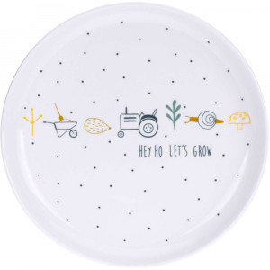 """Assiette bebe en porcelaine antidérapante Garden Explorer """"Tracteur"""" Lassig"""