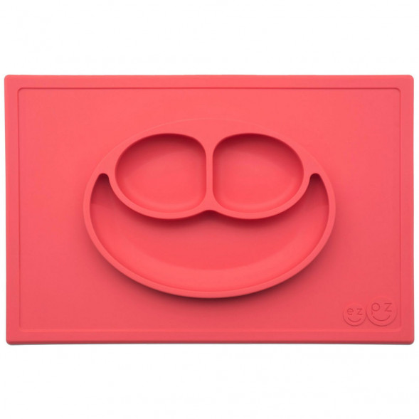 "Assiette compartiments anti-dérapante en silicone Happy Mat ""Corail"""