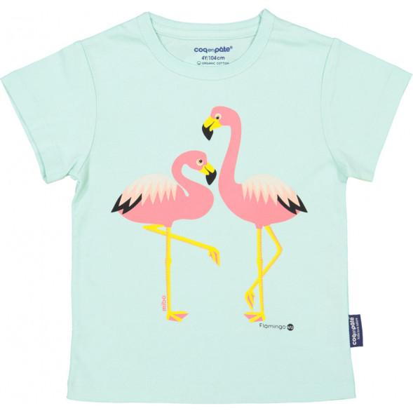 """T-shirt manches courtes en coton bio """"Mibo Flamant Rose"""""""