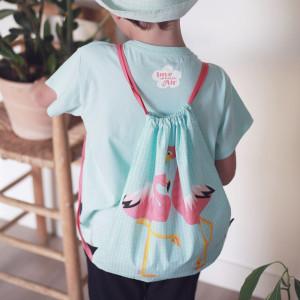 """T-shirt fille manches courtes  en coton bio """"Mibo Flamant Rose"""" Coq en Pate"""