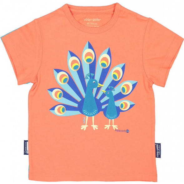 "T-shirt manches courtes en coton bio ""Mibo Paon"""