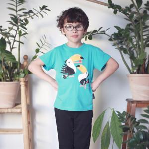 """T-shirt enfant manches courtes en coton bio """"Mibo Toucan"""" Coq en Pâte"""