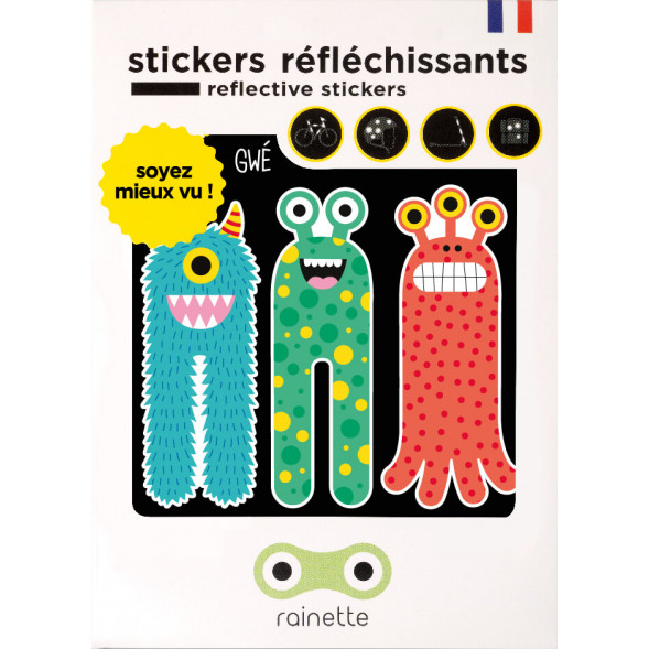 """Stickers réflechissants pour vélo et accessoires """"Les 3 Monstres"""""""