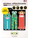 """Stickers réflechissants pour vélo et casque """"Les 3 Monstres"""" Rainette"""