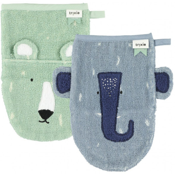 "Gants de toilette en coton bio ""Mrs Elephant & Mr Ours Polaire"" (x2)"