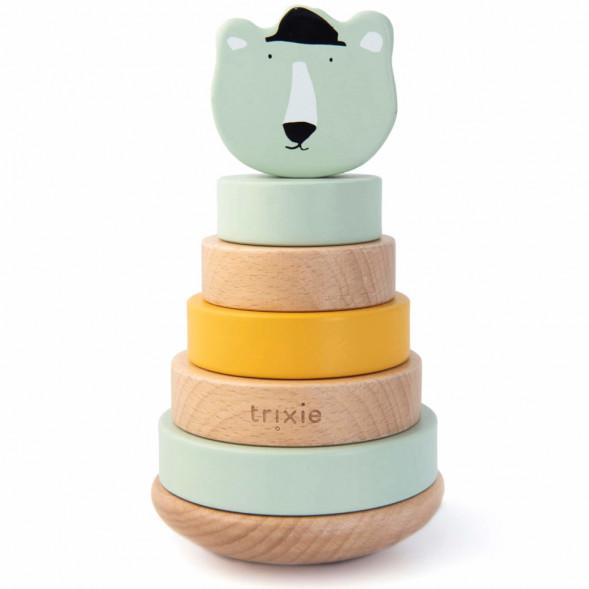 """Jouet en bois bébé écologique Culbuto à emplier """"Mr Ours Polaire"""" (1-3 ans) Trixie Baby"""