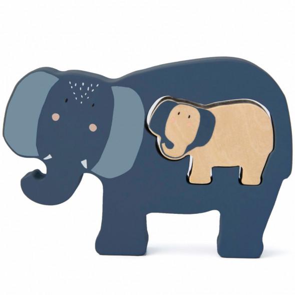 """Puzzle bébé en bois """"Mrs Elephant"""" (1 an et +)"""