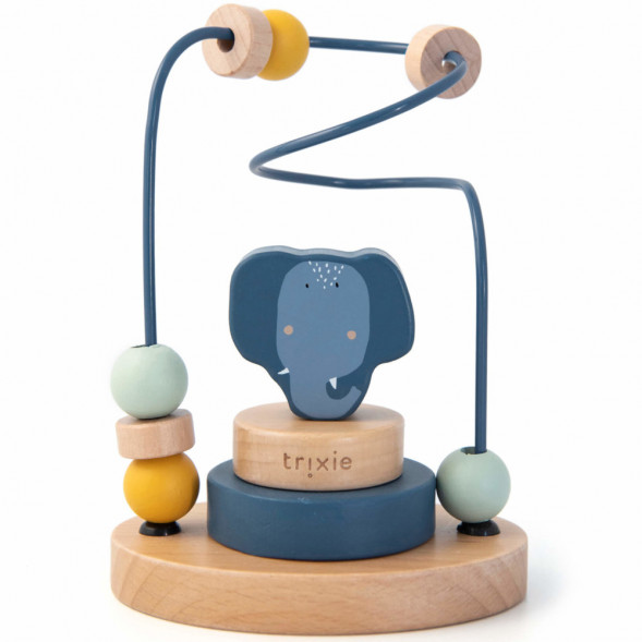 """Jouet en bois bébé Labyrinthe de perles """"Mrs Elephant"""" (1 an et +) Trixie Baby"""