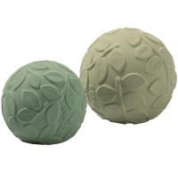 "Balles bébé sensorielles en hevea ""Feuillage Green"" (x2) Natruba"