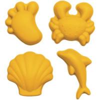 """Set de 4 moules à sable en silicone recycable """"Moutarde"""" Scrunch"""