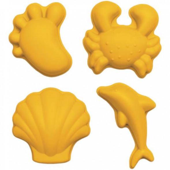 """Set de 4 moules à sable en silicone recycable """"Moutarde"""""""