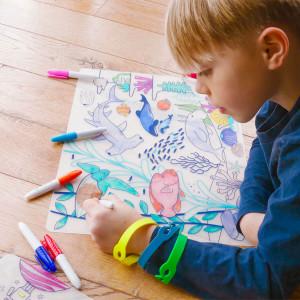"""Set de table enfant à colorier en silicone """"Barrière de Corail"""" + Feutres Super Petit"""