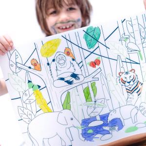 """Set de table enfant à colorier en silicone """"Jungle Wildlife"""" + Feutres Super Petit"""