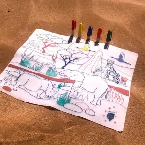 """Set de table enfant à colorier en silicone """"Savane Wildlife"""" + Feutres Super Petit"""