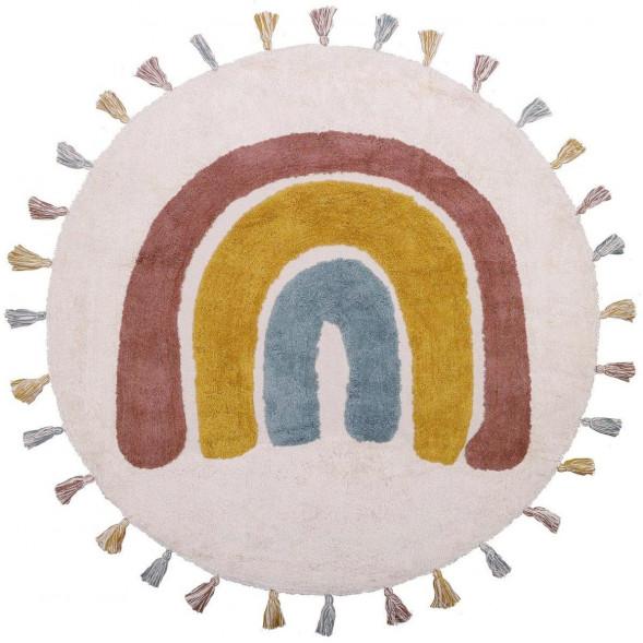 """Tapis rond à pompons en coton lavable """"Rainbow"""" (110 cm)"""