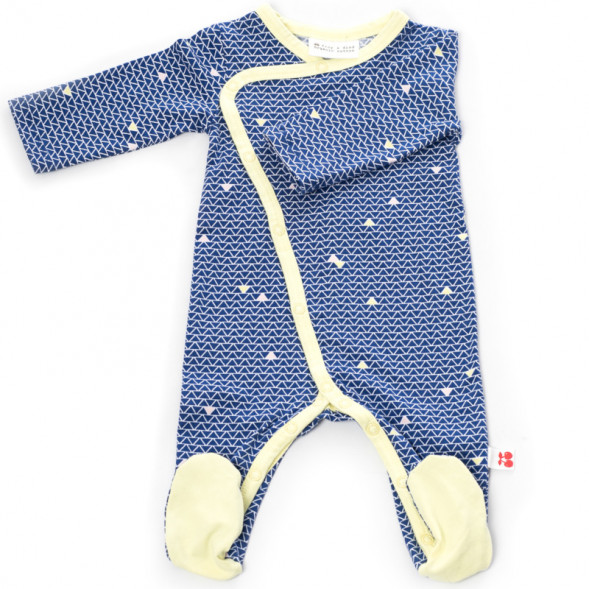 "Pyjama bébé kimono avec pieds en jersey de coton bio ""Helsinki"""