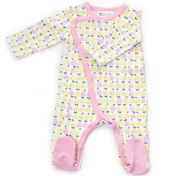 "Pyjama bébé kimono avec pieds en jersey de coton bio ""Pear"""