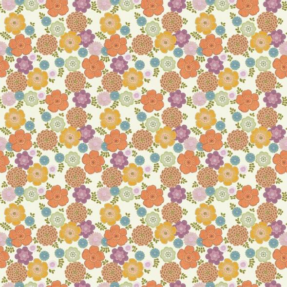 "Papier peint ""Flower Vintage White"" (300x300)"