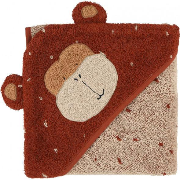 """Cape de bain bébé en coton bio """"Mr Monkey"""" (0-3 ans)"""