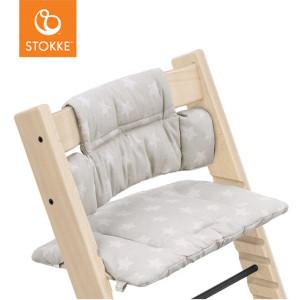 """Coussin pour chaise haute Tripp Trapp en coton bio """"Etoiles Argent"""" Stokke"""
