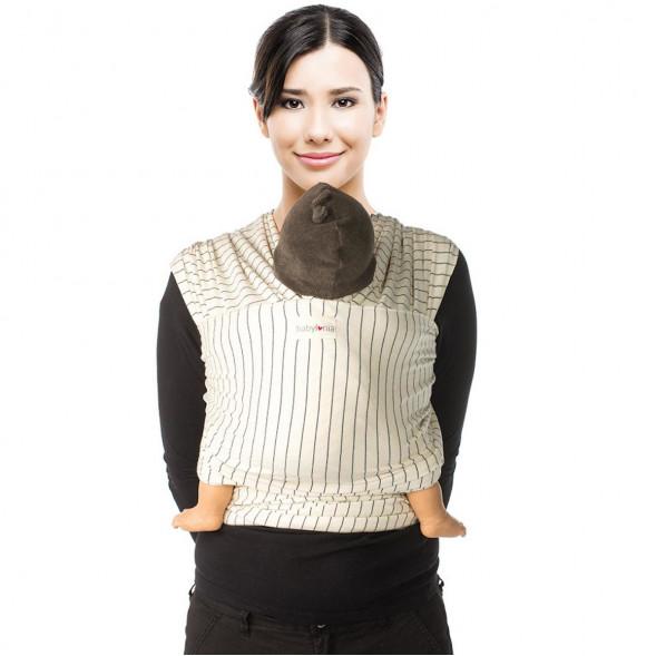 "Echarpe de portage Tricot-Slen Design en coton bio ""Cream Pinstripe"""