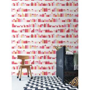 """Papier peint enfant design """"Maisons Rouges"""" (200x300) inke -"""