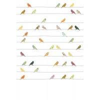 """Papier peint enfant Vintage """"Oiseaux Muliticolor"""" (200x300) Inke"""