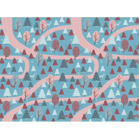 """Papier peint """"Forêt Enchantée Rouge"""" (400x300)"""