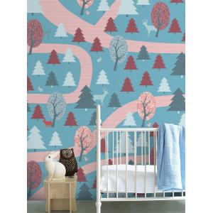 "Papier peint enfant vintage 200x300 ""Promenade en Forêt "" - rouge - inke -"