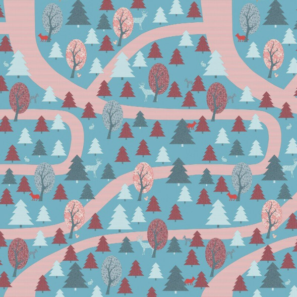 """Papier peint """"Forêt Enchantée Rouge"""" (300x300)"""