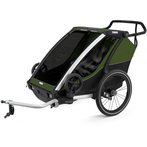 """Chariot Cab 2 """"Vert Cyprès/Noir"""" (Remorque-vélo, Poussette & Jogger 2 places)"""