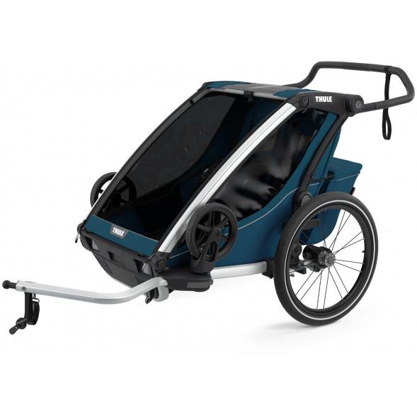 """Chariot Cross 2 """"Majolica Blue"""" (Remorque-vélo, Poussette & Jogger 2 places)"""