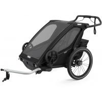 """Chariot Sport 2 """"Black on Black"""" (Remorque-vélo, Poussette & Jogger 2 places) Thule"""
