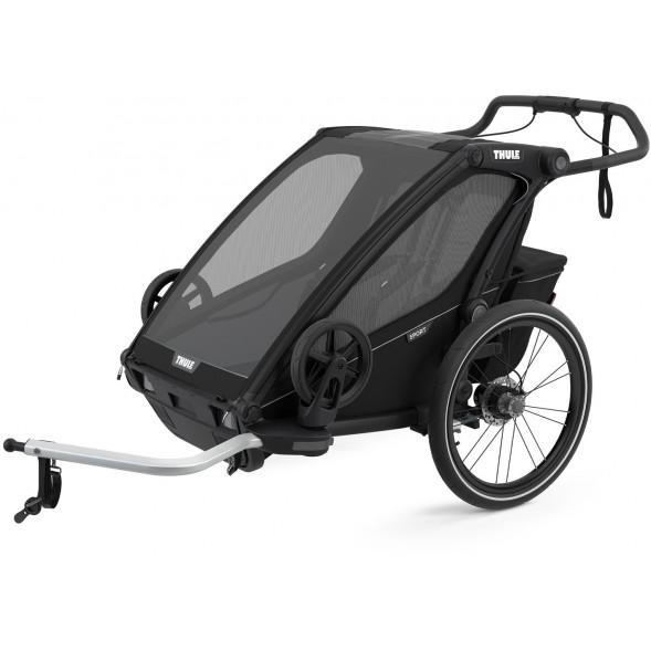 """Chariot Sport 2 """"Midnight Black"""" (Remorque-vélo, Poussette & Jogger 2 places)"""