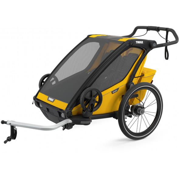 """Chariot Sport 2 """"Black/Spectra Yellow"""" (Remorque-vélo, Poussette & Jogger 2 places)"""