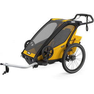 """Chariot Sport """"Black/Spectra Yellow"""" (Remorque-vélo, Poussette & Jogger 1 place) Thule"""