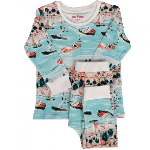 "Pyjama enfant 2 pièces en jersey de coton bio ""Riviera"" Change ma couche"
