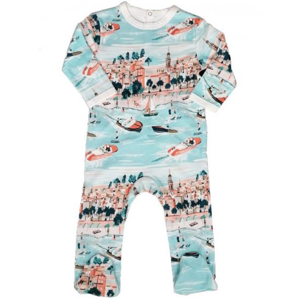 "Pyjama bébé avec pieds en jersey de coton bio ""Riviera"""