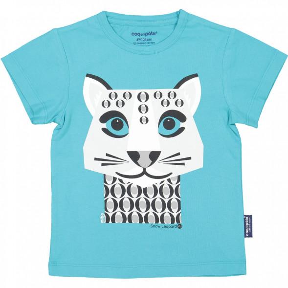 """T-shirt manches courtes en coton bio """"Mibo Léopard des neiges"""""""