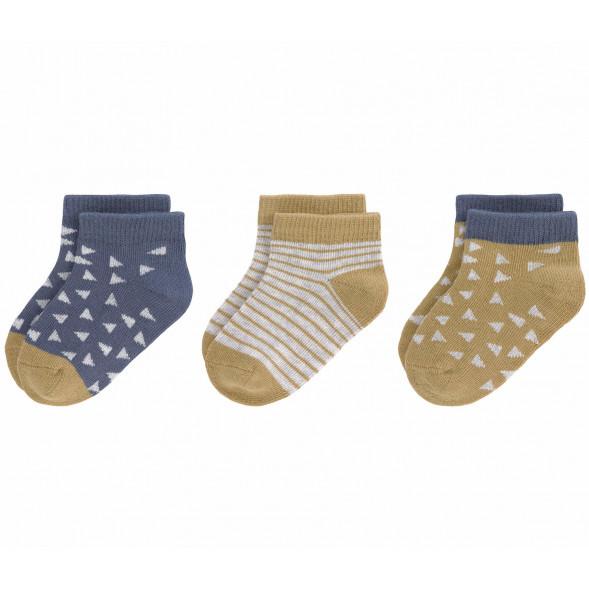 """Chaussettes bébé (4-12 mois) en coton bio """"Curry/Bleu"""" (x3)"""