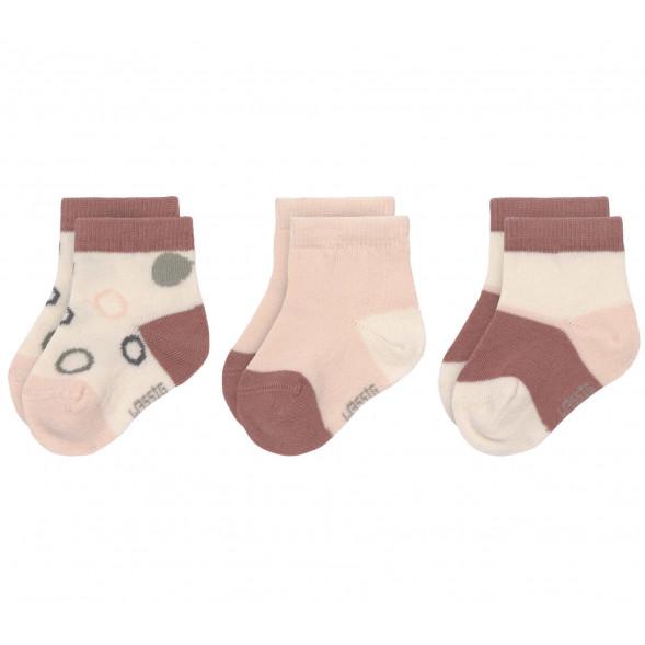 """Chaussettes bébé (4-12 mois) en coton bio """"Rose/Ecru"""" (x3)"""