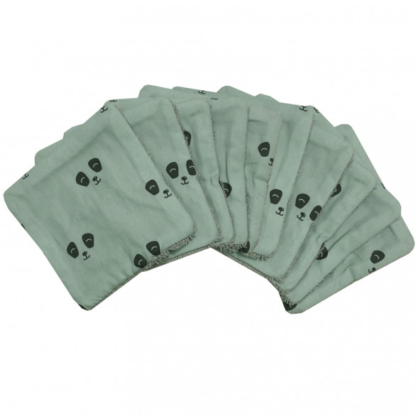 """Lingettes lavables en coton """"Panda Eucalyptus"""" (x10)"""