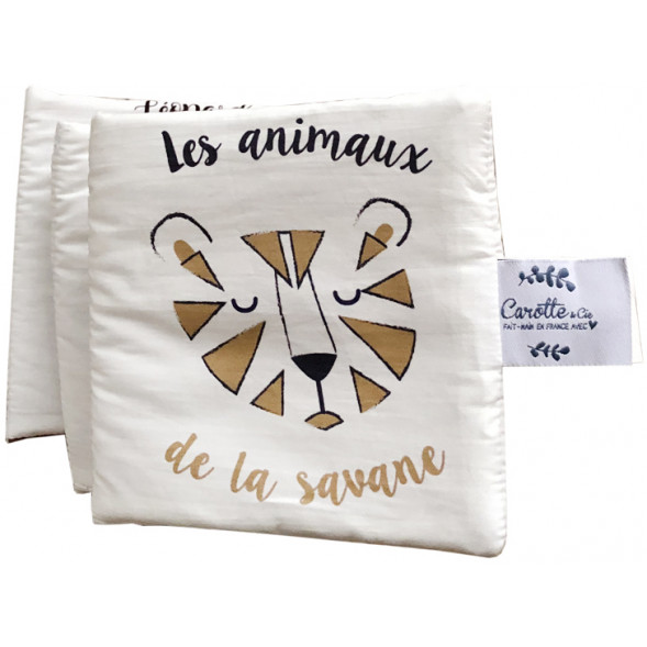 """Livre d'éveil avec bruitages en coton """"Les animaux de la Savane"""""""