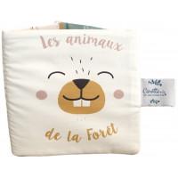 """Livre d'éveil bébé avec bruitages en coton """"Animaux de la forêt"""" Carotte & Cie"""