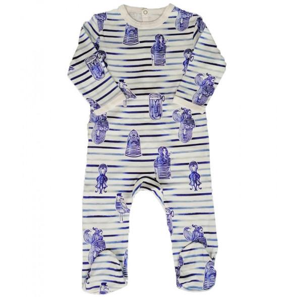 "Pyjama bébé avec pieds en jersey de coton bio ""Marinière"""