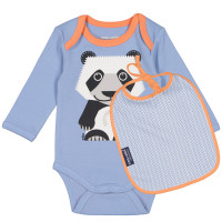 "Set body + bavoir bébé en coton bio ""Mibo Panda"" Coq en Pâte"