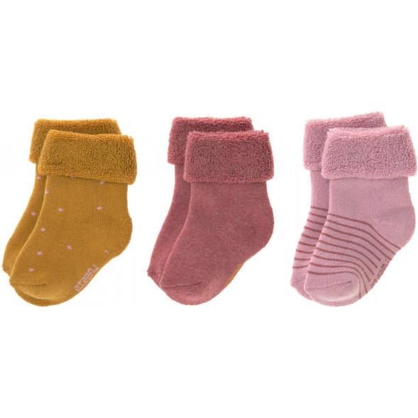 """Chaussettes bébé (12-24 mois) en coton bio """"Bois de Rose"""" (x3)"""