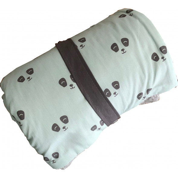 """Couverture nomade en coton bio """"Panda Eucalyptus"""" (85 X 85 cm)"""