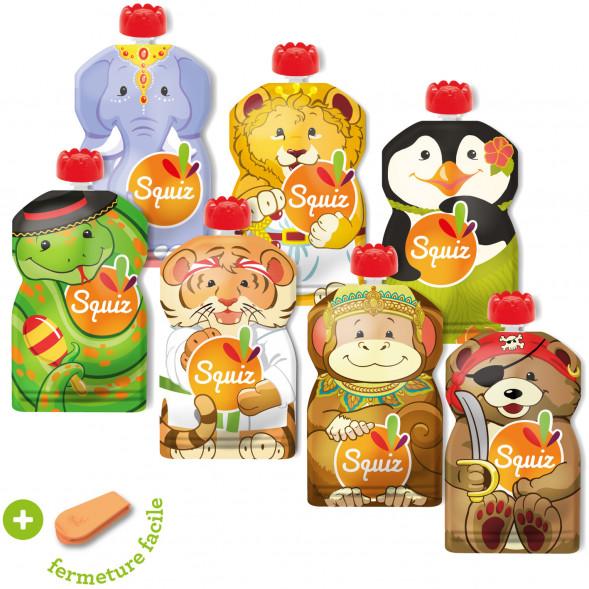 """Pack de 7 Gourdes Réutilisables Squiz (130 ml) """"Carnaval"""" + curseur Squiz'Zip"""