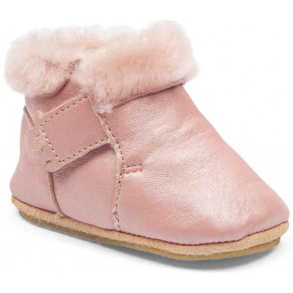 """Chaussons bébé en cuir fourrées en peau de mouton lainée Foublu """"Powder"""""""